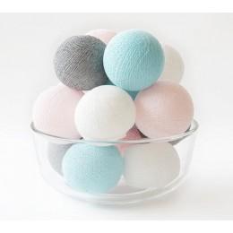 Гирлянда из ниточных шариков CBL Grey Pastel 20 шт, 3.7 м