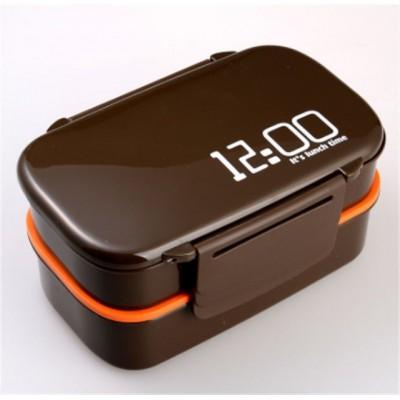 """Ланч-бокс """"12:00"""", коричневый 1400 мл, 2 яруса. Больше фото фото в интернет-магазине подарков podario.com"""