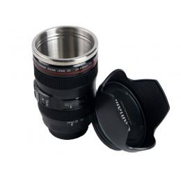 """Термокружка - линза Canon 24-105 """"Lens + hood"""" черная"""