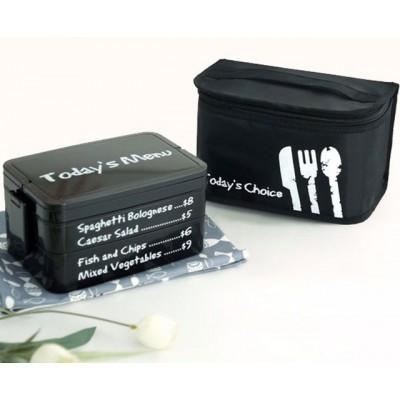 """Комплект термосумка и ланч бокс """"Today's Menu"""" черный. Больше фото фото в интернет-магазине подарков podario.com"""