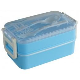 Ланч-бокс Ice Cream, голубой, 2 слоя, 850 мл