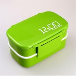 """Ланч-бокс """"12:00"""", зелёный 1400 мл, 2 яруса. Больше фото фото в интернет-магазине подарков podario.com"""