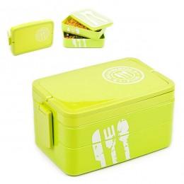 """Ланч бокс """"Homemade Food"""" зелёный, 3 яруса, 2 л. Больше фото фото в интернет-магазине подарков podario.com"""