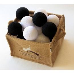 Гирлянда тайские шарики-фонарики CBLЧерно-белая 20 шариков, 3.7 м