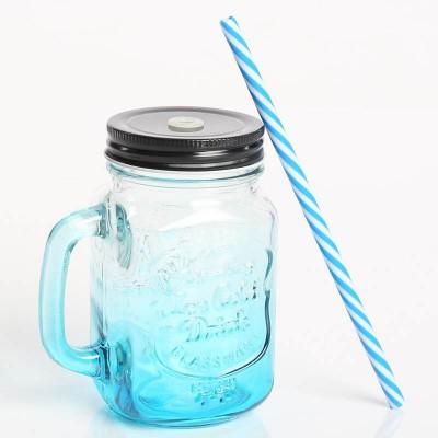 Стеклянная банка с ручкой Mason Jar Blue. Больше фото в интернет-магазине подарков podario.com