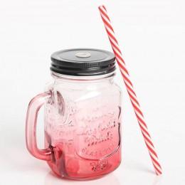 Стеклянная банка с ручкой Mason Jar Red. Больше фото в интернет-магазине подарков podario.com