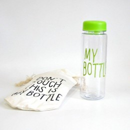 Зеленая бутылка My Bottle с чехлом