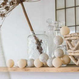 Тайская гирлянда шарики-фонарики CBL Shell & Silver Metallic