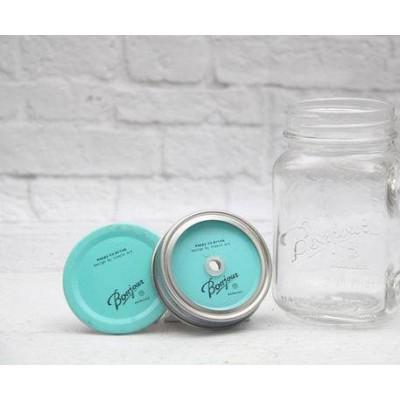 Крышка 2 в 1 Bonjour Blue для Mason Jar. Больше фото в интернет-магазине подарков podario.com