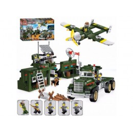Большой детский конструктор Brick 1713 Грузовик-военная база, 687 дет