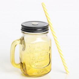 Стеклянная банка с ручкой Mason Jar Yellow. Больше фото в интернет-магазине подарков podario.com