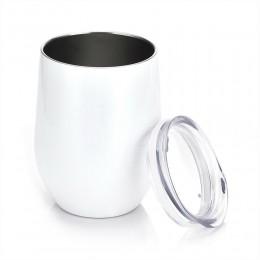 Металлический бокал без ножки Белый, с крышкой, 350 мл