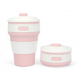 """Складной силиконовый стакан """"Розовый"""", 350 мл, с крышкой"""