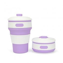 """Складной силиконовый стакан """"Фиолетовый"""", 350 мл, с крышкой"""