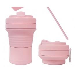 Складная кружка 550 мл, eco cup с карабином и трубочкой, розовая