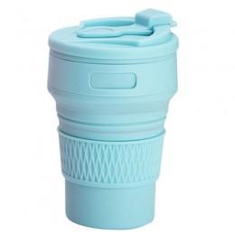Складная силиконовая чашка, 350 мл с трубочкой, голубая