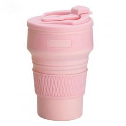 Складная силиконовая чашка, 350 мл с трубочкой, фиолетовая