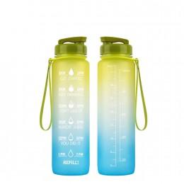 Мотивирующая бутылка для воды 1000 мл Градиент, зелёно-голубая