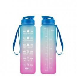 Мотивирующая бутылка для воды 1000 мл Градиент, розовая