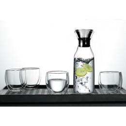 Набор 5 предметов, графин-карафе 1л и 4 стакана с двойным дном 250 мл