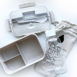 Комплект эко ланч-бокс Wheat и бутылочка с чехлом Nice,  бежевый