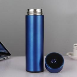Умный термос с термометром и дисплеем, 500 мл синий