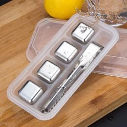 Металлические кубики для охлаждения виски 4 штуки + щипцы