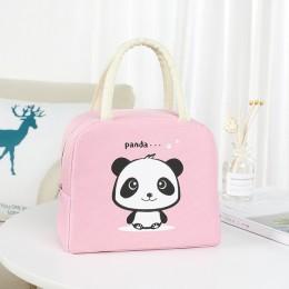 Сумка для ланча (ланч бэг) на молнии Panda, розовая