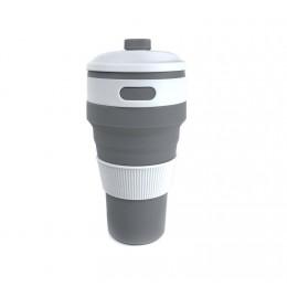 Складной силиконовый стакан Серый, большой 500 мл
