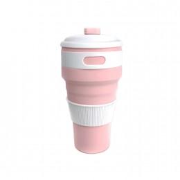 Складной силиконовый стакан Розовый, большой 500 мл