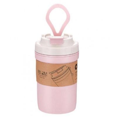 Эко ланч-бокс супница / герметичная термобутылка 400 мл, розовая