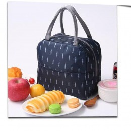 Сумка для ланча (lunch bag) темно-синяя на молнии с карманом