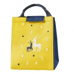 Сумка для ланча (lunch bag) на липучке Олени, желто-синяя