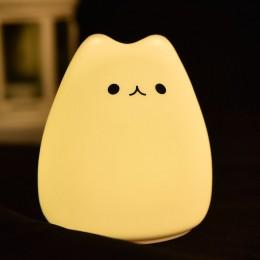 Маленький ночник от батареек Улыбающийся Котик, 10 см, 7 цветов свечения