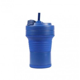 Складная кружка 550 мл, eco cup с карабином и трубочкой, синяя