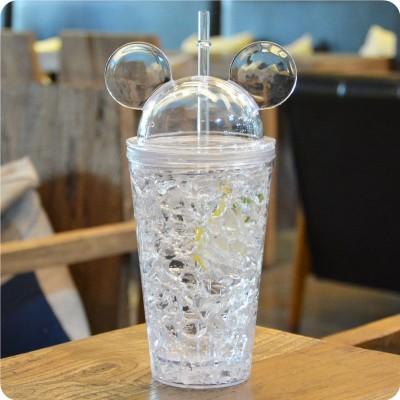 Охлаждающий стакан с трубочкой Mickey Mouse, белый