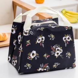 Сумка для ланча (lunch bag) цветочная черная, на молнии