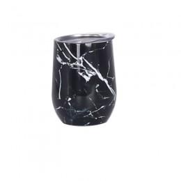 Металлическая термочашка / tumbler Черный Мрамор, с крышкой, 350 мл