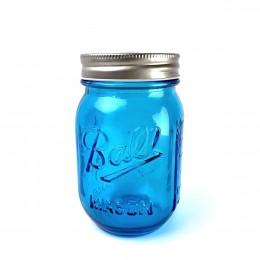 Банка Ball Mason Jars с трубочкой и 2 крышками, Голубой 400 мл
