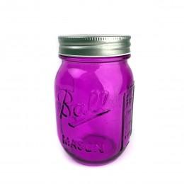 Банка Ball Mason Jars с трубочкой и 2 крышками, Пурпур 400 мл