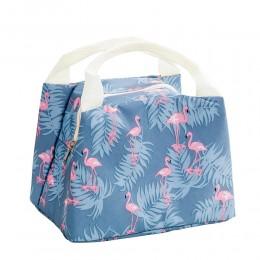 Сумка для ланча (ланч бэг) Фламинго серо-голубая на молнии