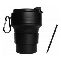 Складная кружка 350 мл, eco cup с карабином и трубочкой, черная