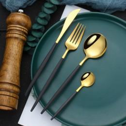 Набор столовых приборов в футляре, 2 ложки, вилка, нож, золото и черный