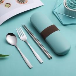 Набор столовых приборов ложка, вилка, палочки в футляре Kit, бирюзовый