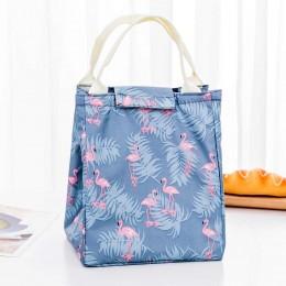 "Сумка для ланча (lunch bag) ""Фламинго"" серо-голубая на липучке"