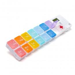 Большая таблетница с таймером на 7 дней утро/вечер Tetris, радужная