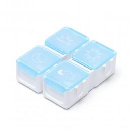 Таблетница Tetris на день 4 ячейки, голубая