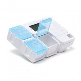 Таблетница на день с таймером напоминанием Tetris, голубая