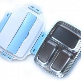 Термо ланч бокс с металлической основой, на 4 отделения - голубой
