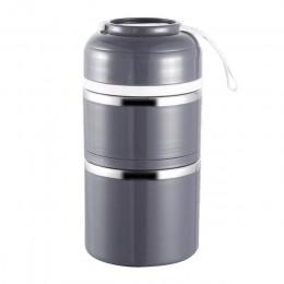 Термос для еды/супа металлический Fresh 1200мл, 2 этажа, серый